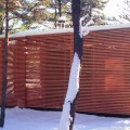 Sauna exterior in winter