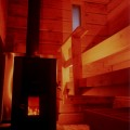 Sauna Interior and Wood Stove