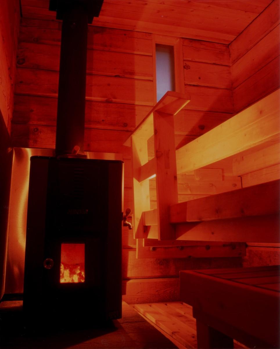 Sauna Interior and Wood Stove