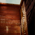 Sauna door, lattice wall and translucent roof