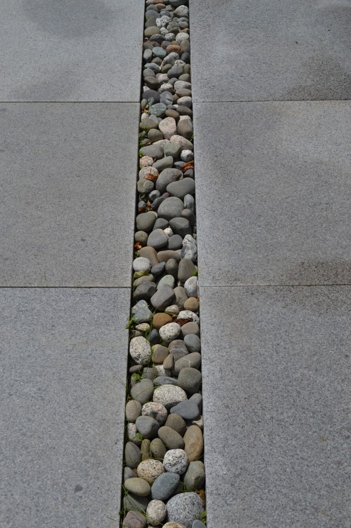 Painting Studio beach stone drip line at granite patio